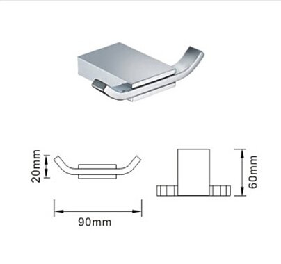 Modern Design Chrome Finish Brass Robe Hook (Double Hooks)