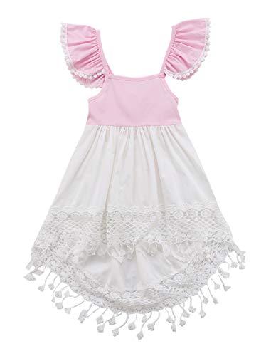 Urkutoba 1-6T Girls Lace Floral Tassels Ruffle Sleeve Halter Backless Tunic Dress Short Front Long Back Princess Dress (Pink, 5-6T)