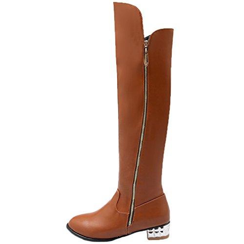 HooH altas de Cremallera Mujer Botas alta de Botas rodilla Marrón Simple plata Equitación Invierno Tacón Rodilla rtEtqTwx