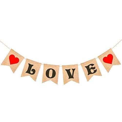 LOVE Burlap Heart Banner - Assembled Banner | No DIY | Valentines Day Decorations - Valentine's Decorations | Valentines Day Banner Sign for Engagement, Wedding, Anniversary Decor, Valentines Garland ()