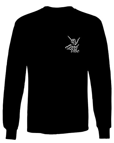 Good Vibe Bones Hand Shaka Cool Vintage Hipster Graphic Men's Long Sleeve t Shirt (Black, X-Large)
