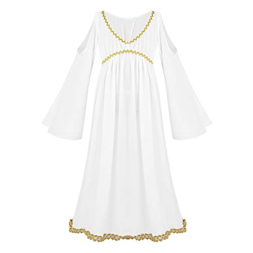 dPois Kids Girls' Greek Goddess Costume V-Neck Long Sleeves Dress Halloween Cosplay Party Fancy Dressing Up White -