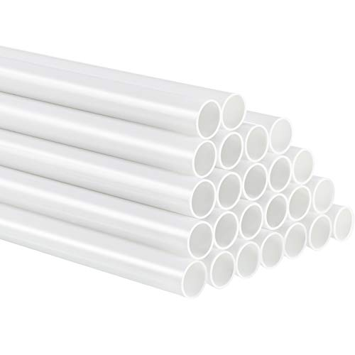 24 Pieces Plastic White Dowel Rods for Tiered Cake Construction and Crafts, 0.4 Inch Diameter (9.5 Inch Length)