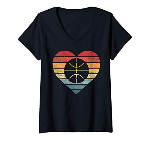 Womens Funny Basketball Player Gifts Retro Sunset Ball BBall Coach V-Neck ()