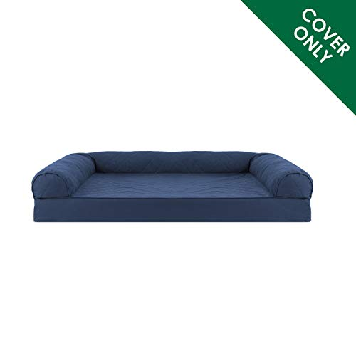 Furhaven Pet Dog Bed Cover | Quilted Traditional Sofa-Style Living Room Couch Pet Bed Replacement Cover for Dogs & Cats, Navy, Jumbo