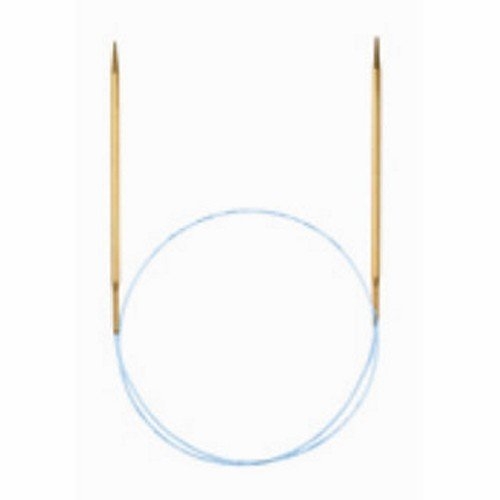 addi Knitting Needle Circular Lace Tip Brass Finish Blue Cord 16 inch (40cm) Size US 02 (3.0mm) ()