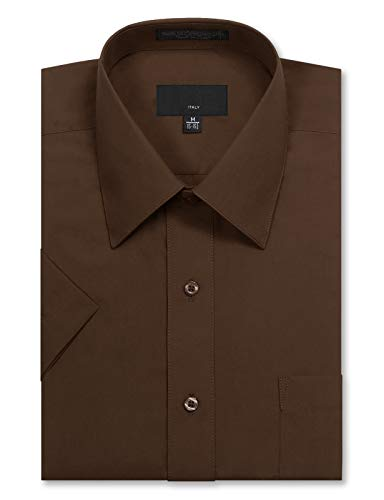 JD Apparel Men's Regular Fit Short Sleeve Dress Shirts 17-17.5N X-Large Brown