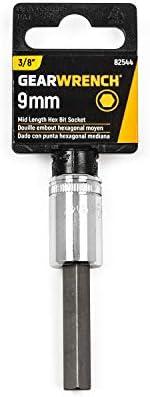 GEARWRENCH 3//8 Drive Mid Length Hex Bit Metric Socket 7mm 82542
