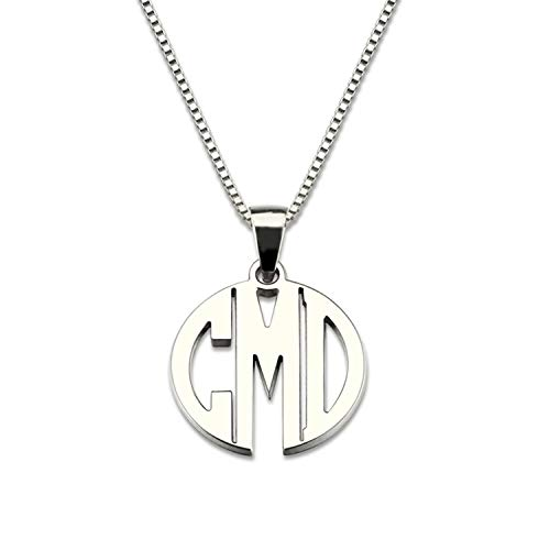 Getname Necklace Custom XS Block Monogram Necklace Custom Made with Any 3 Initials Pendant Necklace in 925 Sterling Silver Silver 16