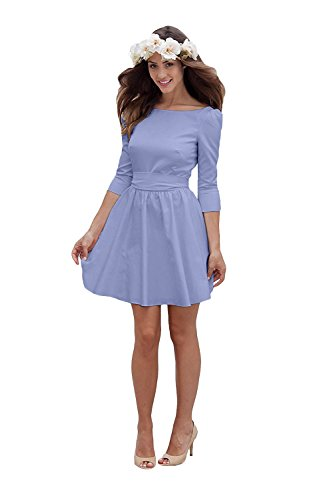 Wedding Backless Beach Short Bateau Bowknot Bridal Women's Dress Lavender Bridesmaid Amore Dress gTqXO