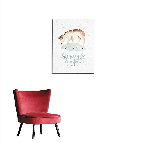 (longbuyer Photographic Wallpaper Watercolor Merry Christmas Illustration with Snowman Holiday Cute Animals Deer Rabbit Christmas Celebration Cards Winter New Year Design Mural 20