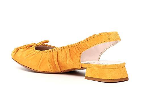 Ballerina 1958 Fiocco Giallo Aperta Kee502 Dietro Camoscio Cafènoir In E18 6wUfqvH54
