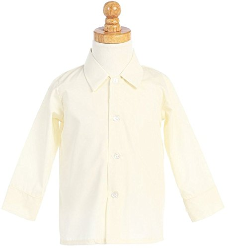Boys Infant Toddler Child Ivory Long Sleeved Simple Dress Shirt - -