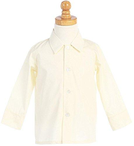 (Boys Infant Toddler Child Ivory Long Sleeved Simple Dress Shirt -)