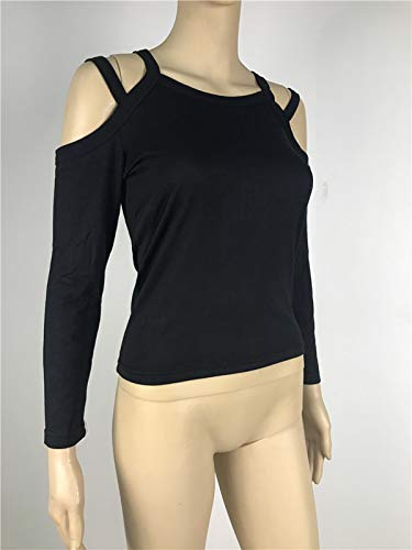 T Automne Manches Blouse Epaule Tops Fashion Shirts Tees Noir JackenLOVE et Couleur Hauts Nu Jumpers Slim Longues Pulls Casual Femmes Unie Printemps TyEwBqz