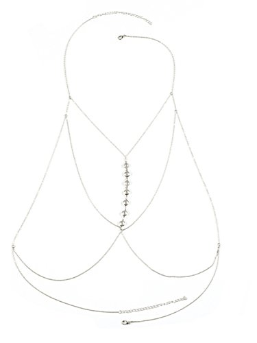 Berrygo Women's Sexy Crossover Harness Hot Bikini Beach Body Chain Necklace Jewelry 2017 Silver