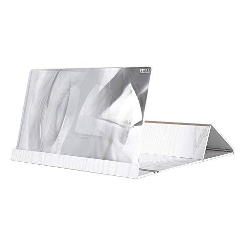 Hide on Bush Cellphone Holder for Desk Bed, 3D Phone Screen Magnifier Stereoscopic Amplifying 12 Inch Desktop Wood Bracket (White)