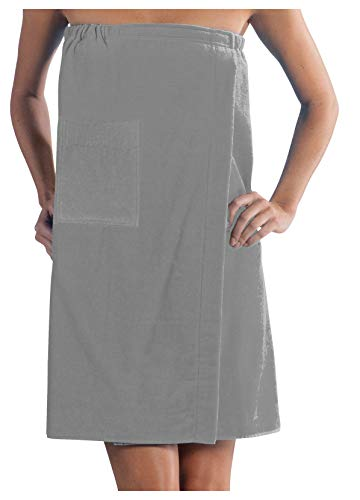 Spa Wrap Terry Cotton Ladies Cover Up Made in USA, Silver, One Size ()