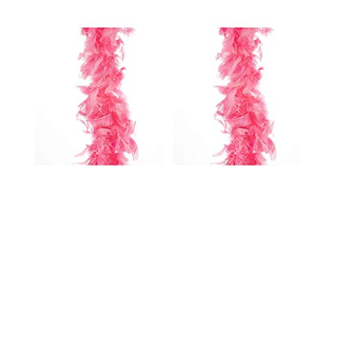 Darice 30061319 Flamingo Pink Chandelle 6 feet Feather Boa, (2 pack)