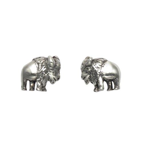 (Tiny Sterling Silver Buffalo Stud Earrings)