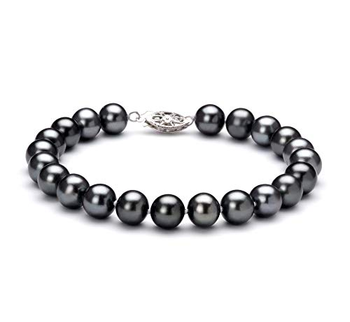Black 7.5-8.5mm AA Quality Freshwater 925 Sterling Silver Cultured Pearl Bracelet For Women-8 in length