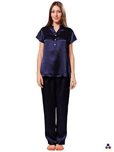 ElleSilk Women's Silk Pajama Set, Silk Sleepwear, The Highest Quality Mulberry Silk, Navy, - Mulberry Dyed