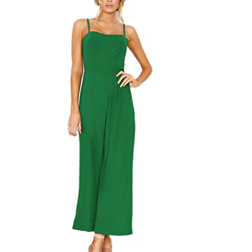 Fashion Womens Backless Playsuit, Holiday Strappy Wide Leg Pants Dressy Casual Cute Long Jumpsuit ❤️Sumeimiya Green ()