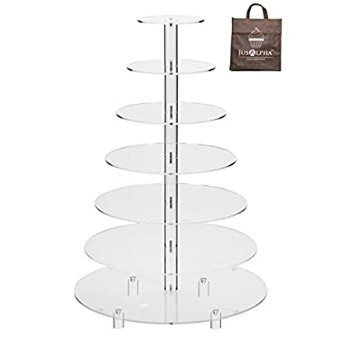 Jusalpha® Large 7-Tier Acrylic Round Wedding Cake Stand/ Cupcake Stand Tower/ Dessert Stand/ Pastry Serving Platter/ Food Display Stand For Big Event (Large With Rod Feet Base)