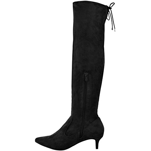 Knee Fashion Pointed Boots Size Low Faux Thirsty Stretchy Shoes Suede Heel Ladies Thigh Womens Black Kitten High zqr0wq1v4n