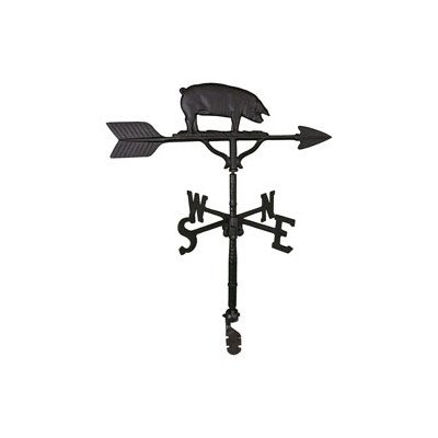 Montague Metal Products 32-Inch Weathervane with Satin Black Pig Ornament
