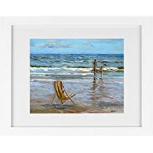 Todd Walk Galleries Beach Chair at Water's Edge - Framed Art Print