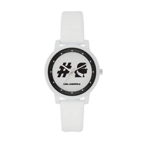 Karl Lagerfeld Women's 'Camille' Quartz Stainless Steel and Silicone Casual Watch, Color:White (Model: KL2243)