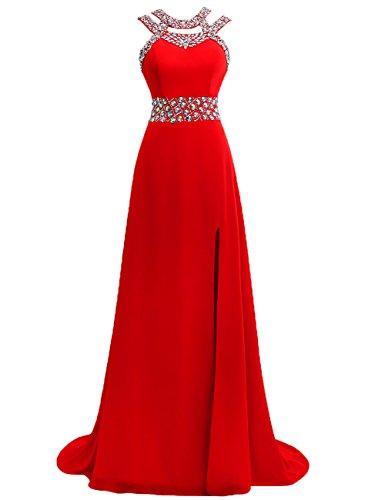 Vestido Cuello Rojo h¨lter Gasa Noche Vestido de Vestidos de JAEDEN Mujer Formal Largo Baile pwq811