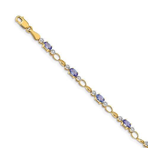 14K Yellow Gold Completed Open-Link Diamond/Tanzanite Bracelet