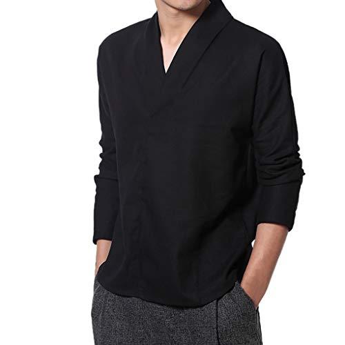 JJLIKER Men's Cotton Linen Henley Shirts Vintage V-Neck Long Sleeve Tops Casual Basic Regular-Fit Blouse Comfort White