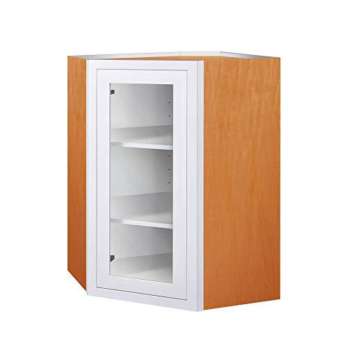 - Inset Modern Shaker Style RTA Birch Wood Wall Diagonal Corner Storage Cabinet for Kitchen 27-Inch Wide, 39-Inch High and 14-Inch Deep with One Glass Door and Two Shelf Boards