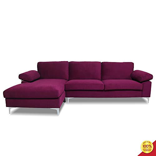 Hooseng Stretch Solid Color Pattern Fitted Armchair Sofa Chair Full Size Sleeper Bed for Living Room, Purple
