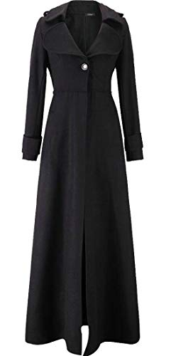 Domple Womens Warm Wool Full Length Casual Overcoat One Button Long Trench Coat Black - Length Full Womens Overcoat