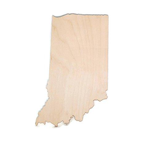 "Gocutouts Indiana State Cutout Unfinished Indiana Wood/ Wooden Baltic Birch 1/4"" Cutout DIY Home Decor USA Made (Indiana)"