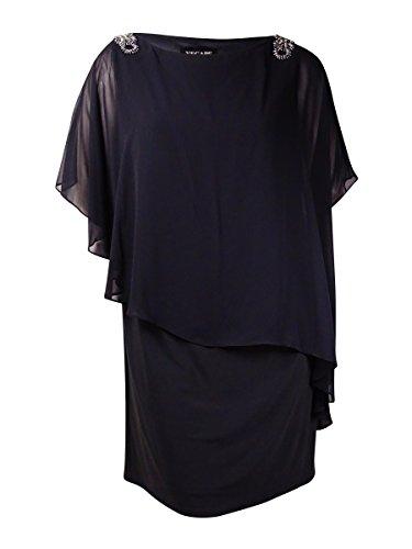 - Xscape Women's Beaded Asymmetrical Chiffon Jersey Dress (20W, Charcoal/Silver)