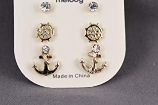 3 pair gold tone anchor ships wheel stud post earrings crystal boating nautical