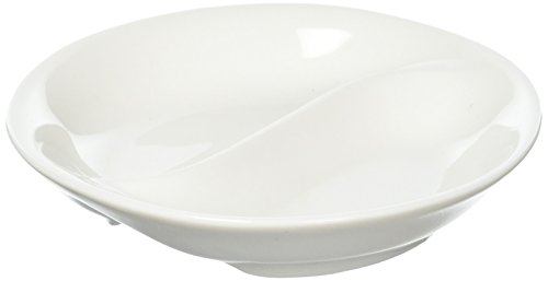 Divided Sauce Dish - Maxwell and Williams Basics Round Divided Sauce Dish, White
