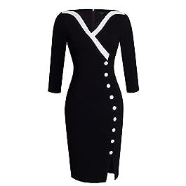 HOMEYEE Women's Elegant V-Neck Big Button Hem Split Slim Bodycon Casual Vintage Dress B335