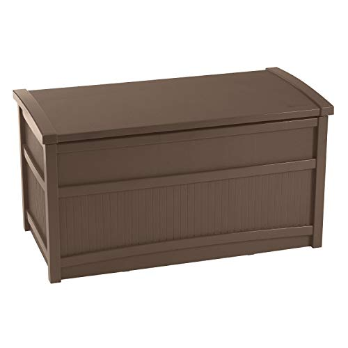 Suncast 50-Gallon Medium Deck Box - Lightweight Resin Indoor/Outdoor Storage Container and Seat for Patio Cushions and Gardening Tools - Store Items on Patio, Garage, Yard - Brown