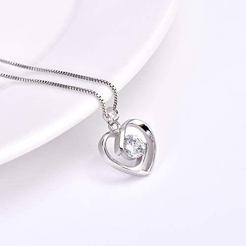 Bag 925 STERLING SILVER NECKLACE CRYSTAL HEART MUM Pendant Birthday Love Gift
