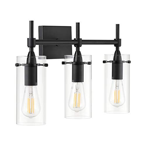 Effimero Black Bathroom Vanity 3 Light Fixture – Modern Over Mirror Lighting with Clear Glass Shades