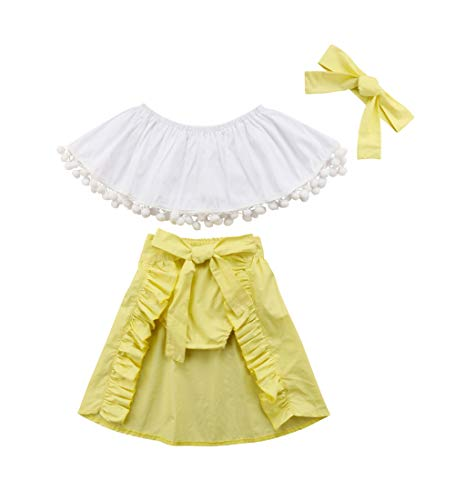 Toddler Kids Baby Girl Floral Halter Ruffled Outfits Clothes Tops+Shorts 2PCS Set (6-12 Months, White+Yellow)