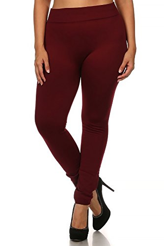 World of Leggings PLUS SIZE Premium Fleece Lined Leggings - Burgundy 1XL/2XL