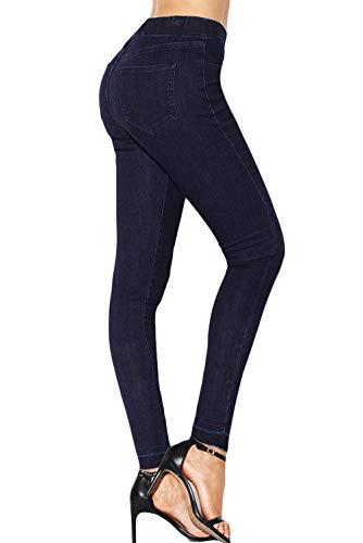 Vita Elastica Per Navy Blau Moda Abbigliamento Lunghi Donna La Pantaloni Alla g17Xw