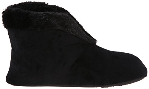 Black Dearfoams Bootie Womens Velour Velour Womens Flat Boa with Dearfoams qzqHr